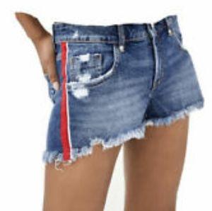 New Zara red striped denim shorts